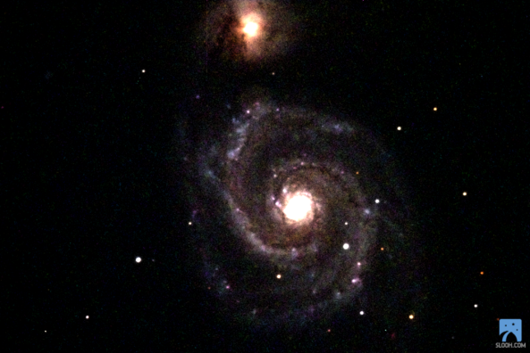 M51. Slooh space camera Canary Islands. Steve Johns 2014